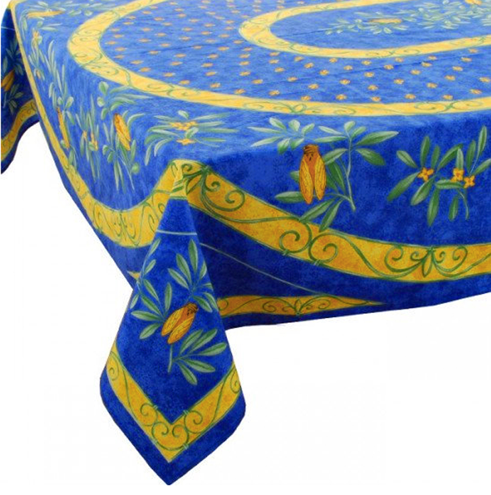 """French Acrylic Coated Tablecloth Collection """"Cigale"""": Cicade Motif, Placed Pattern, 100"""" x 62"""", Seats 8 people, Price $144.95"""