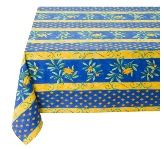 """French Acrylic Coated Tablecloth Collection """"Cigale"""": Cicade Motif, Stripes, Size 60"""" x 46"""", Seats 4 people, Price $64.95"""