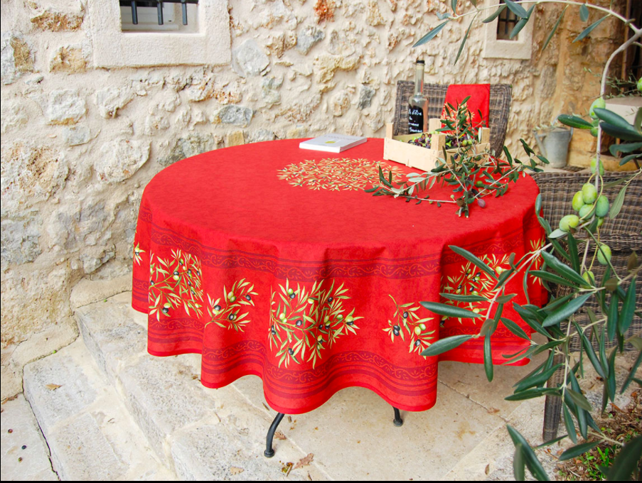 """French Acrylic Coated Tablecloth Collection """"Clos"""" Red: Olives Motif, Placed Pattern, Round D.71"""", Seats 4 - 6 people, Price $114.95"""