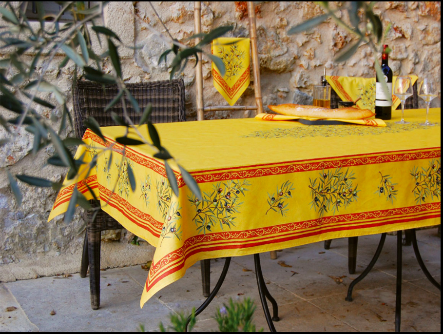 "French Acrylic Coated Tablecloth Collection ""Clos"" Saffron: Olives Motif, Placed Pattern, Size 100"" x 62"", Seats 8 people, Price $144.95"