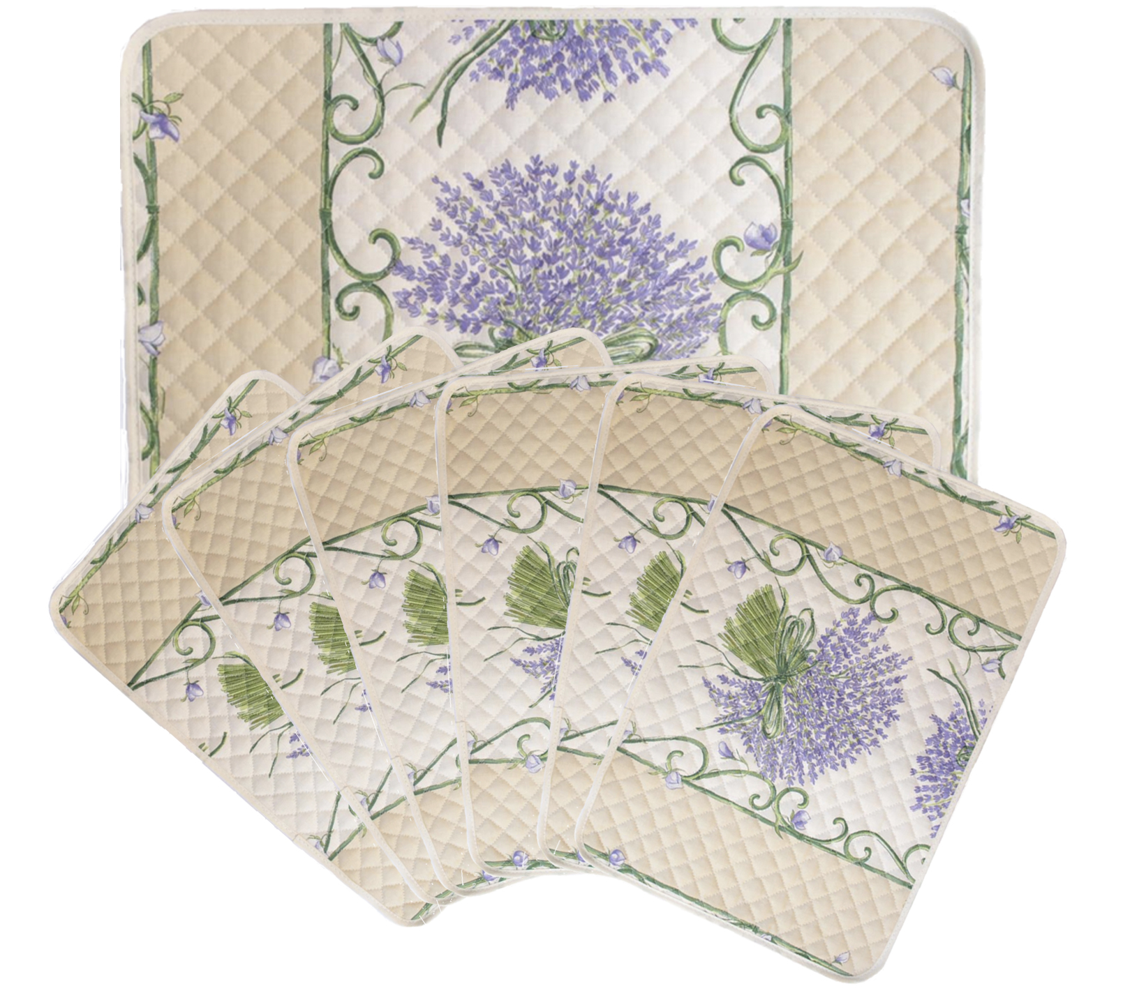 """French Acrylic Coated Placemats Collection """"Bouquet"""" Cream: Lavender Motif, Size 17"""" x 11"""", Price $94.95 for a Set of 6"""