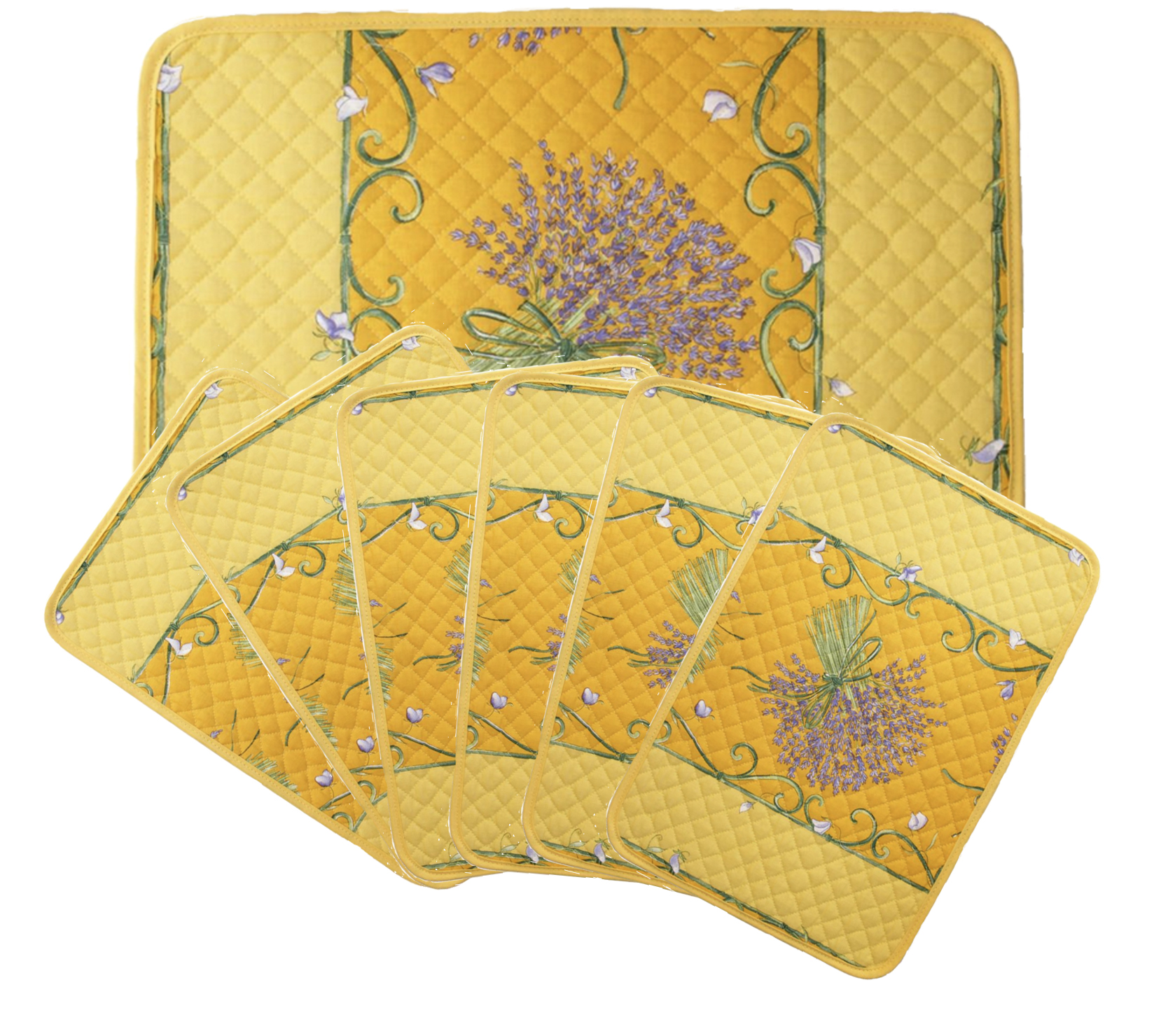 """French Acrylic Coated Placemats Collection """"Bouquet"""" Yellow: Lavender Motif, Size 17"""" x 11"""", Price $94.95 for a Set of 6"""
