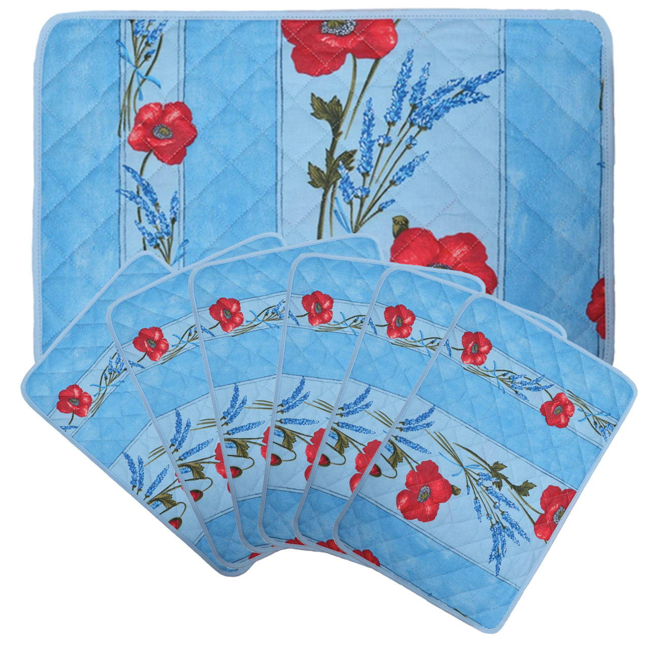 """French Acrylic Coated Placemats Collection """"Coquelicot"""" Light Blue: Poppies & Lavender Motif, Size 17"""" x 11"""", Price $94.95 for a Set of 6"""