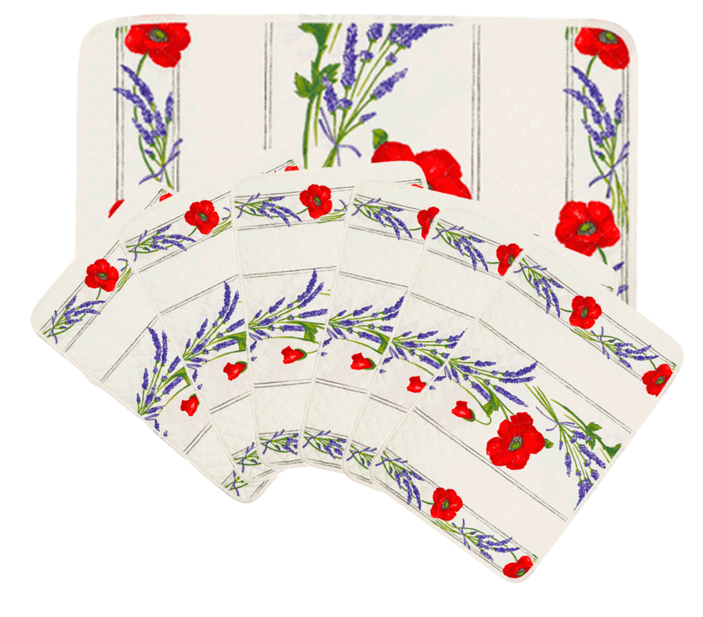 """French Acrylic Coated Placemats Collection """"Coquelicot"""" White: Poppies & Lavender Motif, Size 17"""" x 11"""", Price $94.95 for a Set of 6"""