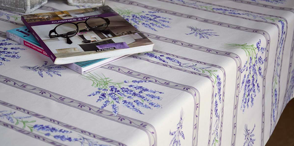 "French Acrylic Coated Tablecloth Collection ""Valencole"" Cream: Lavender Motif, Stripes, Size 60"" x 46"", Seats 4 people, Price $64.95"