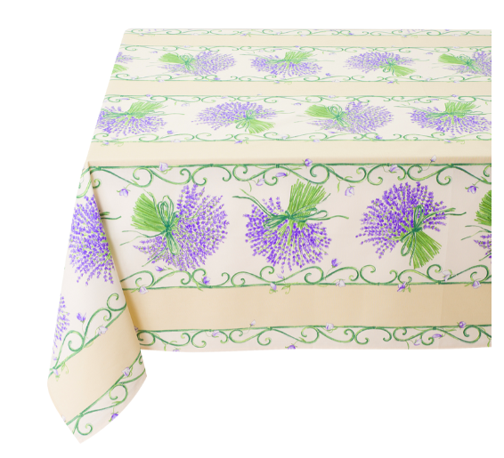 """French Acrylic Coated Tablecloth Collection """"Bouquet"""" Cream: Lavender Motif, Stripes, Size 76"""" x 60"""", Seats 6 people, Price $94.95"""
