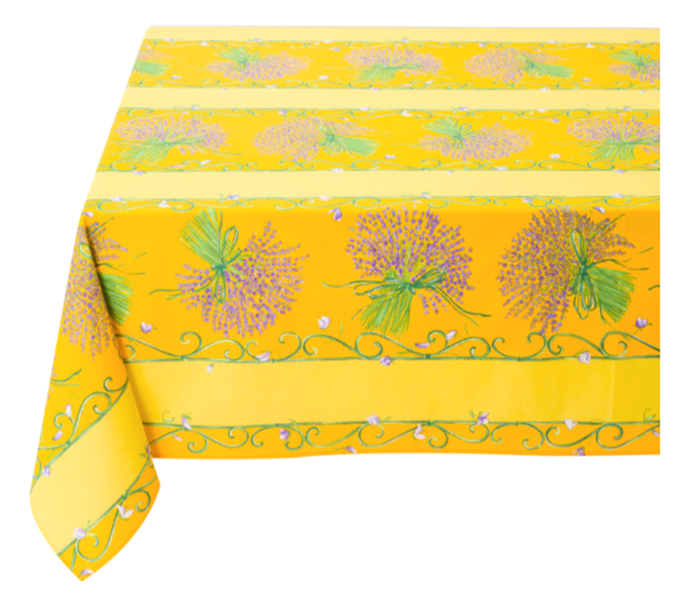 """French Acrylic Coated Tablecloth Collection """"Bouquet"""" Yellow: Lavender Motif, Stripes, Size 60"""" x 46"""", Seats 4 people, Price $64.95"""