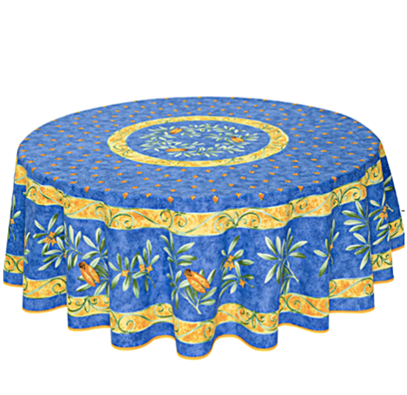 "French Acrylic Coated Tablecloth Collection ""Cigale"": Cicade Motif, Placed Pattern, Round D.71"", Seats 4 - 6 people, Price $114.95"