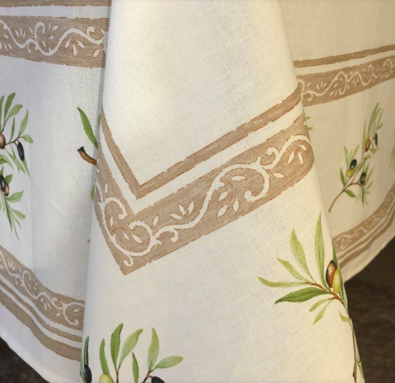 """French Acrylic Coated Tablecloth Collection """"Clos"""" Cream: Olives Motif, Placed Pattern, Size 100"""" x 62"""", Seats 8 people, Price $144.95"""