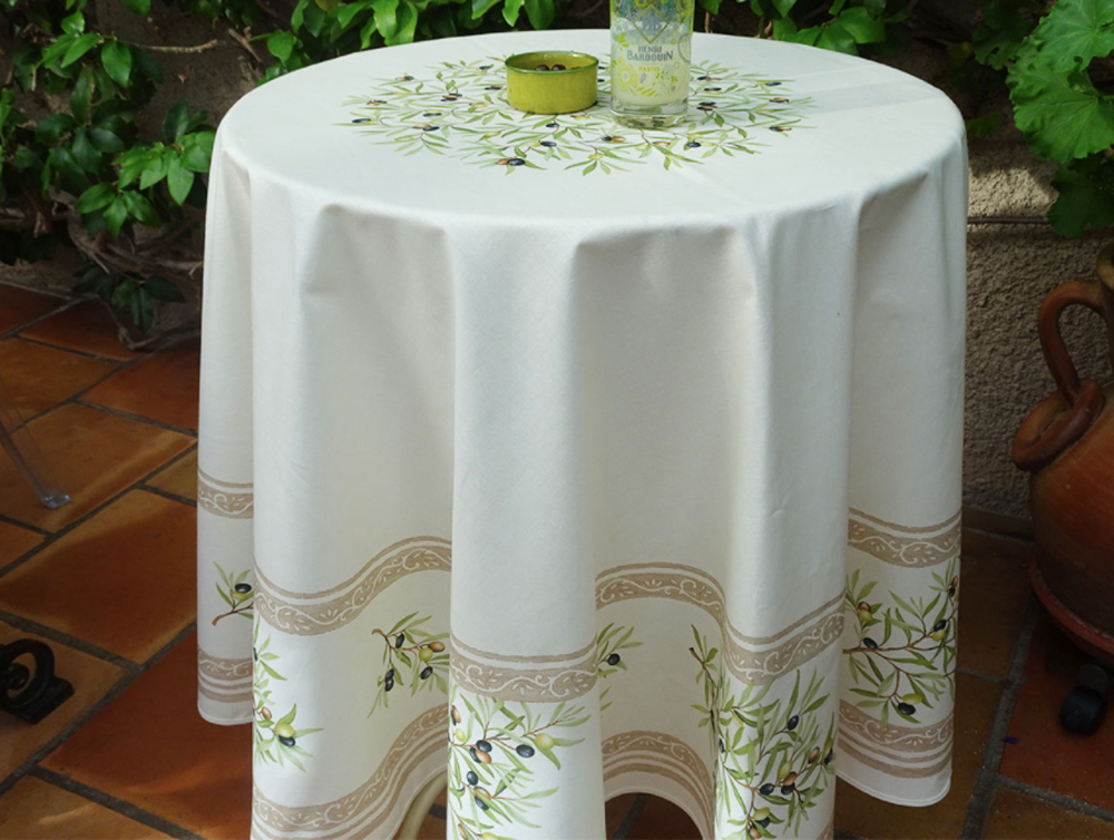 "French Acrylic Coated Tablecloth Collection ""Clos"" Cream: Olives Motif, Placed Pattern, Round D.71"", Seats 4 - 6 people, Price $114.95"