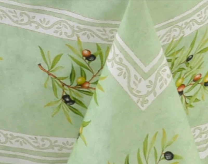 """French Acrylic Coated Tablecloth Collection """"Clos"""" Green: Olives Motif, Placed Pattern, Size 100"""" x 62"""", Seats 8 people, Price $144.95"""