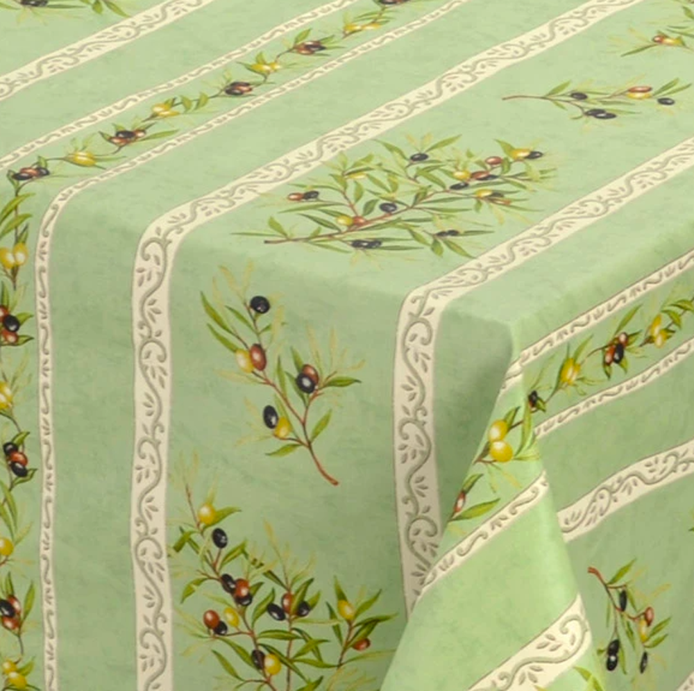 "French Acrylic Coated Tablecloth Collection ""Clos"" Green: Olives Motif, Stripes, Size 76"" x 60"", Seats 6 people, Price $94.95"
