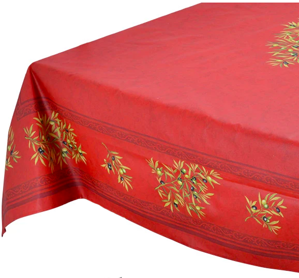 "French Acrylic Coated Tablecloth Collection ""Clos"" Red: Olives Motif, Placed Pattern, Size 100"" x 62"", Seats 8 people, Price $144.95"