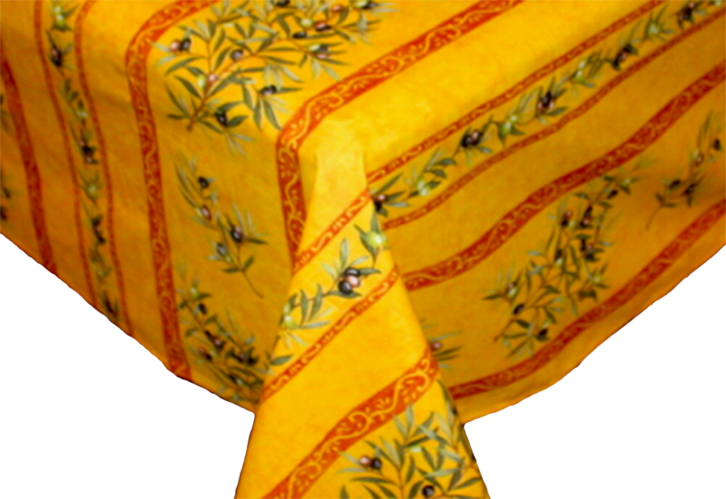 "French Acrylic Coated Tablecloth Collection ""Clos"" Saffron: Olives Motif, Stripes, Size 60"" x 46"", Seats 4 people, Price $64.95"