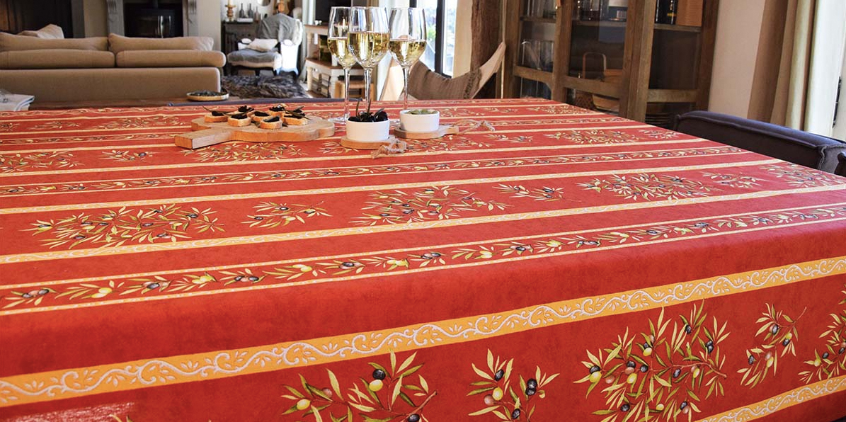 """French Acrylic Coated Tablecloth Collection """"Clos"""" Orange: Olives Motif, Stripes, Size 60"""" x 46"""", Seats 4 people, Price $64.95"""