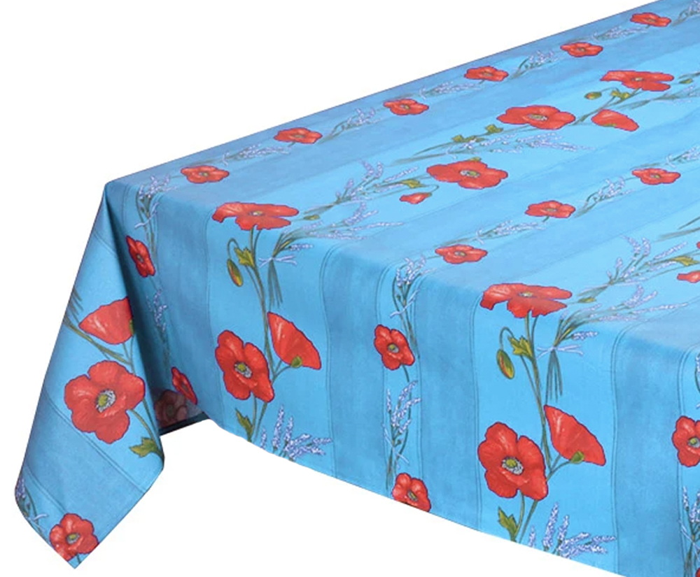 """French Acrylic Coated Tablecloth Collection """"Coquelicot"""" Light Blue: Poppy Motif, Stripes, Size 76"""" x 60"""", Seats 6 people, Price $94.95"""
