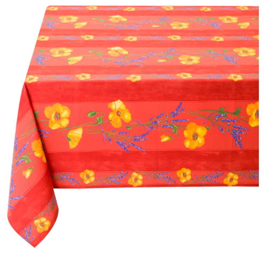 "French Acrylic Coated Tablecloth Collection ""Coquelicot"" Red: Poppy Motif, Stripes, Size 76"" x 60"", Seats 6 people, Price $94.95"