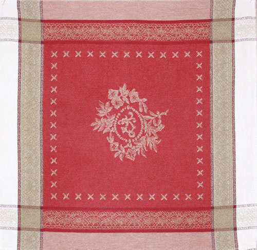"French Jacquard Napkin  Collection ""Monogramme"" Cream/Red"