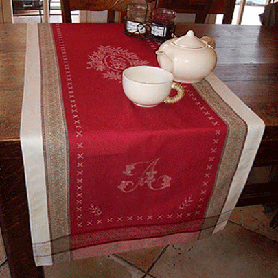 "French Jacquard Runner Collection ""Monogramme"" Red"