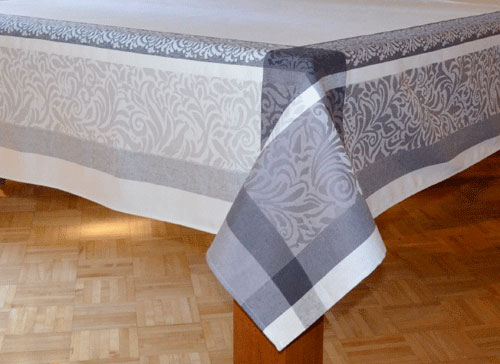 "French Jacquard Tablecloth Collection ""Bargeme"" Cream/Grey"