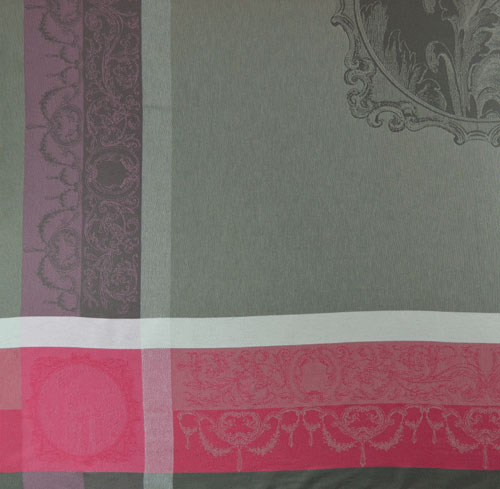 """French Jacquard Tablecloth Collection """"Baroco"""" Taupe/Cranberry (corner shown)"""