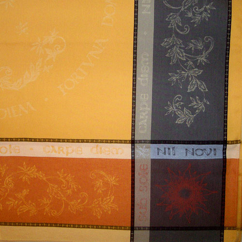 "French Jacquard Tablecloth Collection ""Carpe Diem"" Yellow/Taupe (corner shown)"