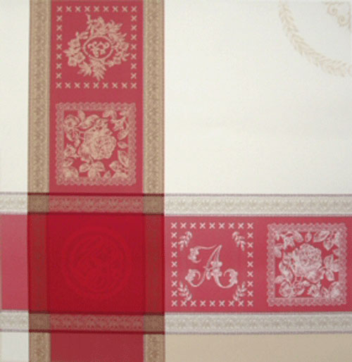 "French Jacquard Tablecloth Collection ""Monogramme"" Cream/Red (corner shown)"