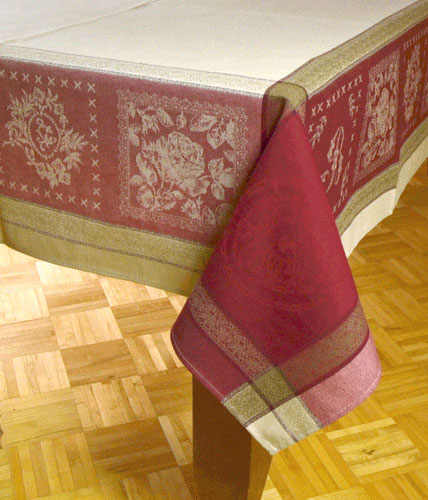 "French Jacquard Tablecloth Collection ""Monogramme"" Cream/Red"