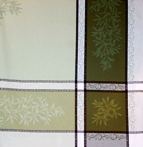 "French Jacquard Tablecloth Collection ""Olive"" Green (corner shown)"