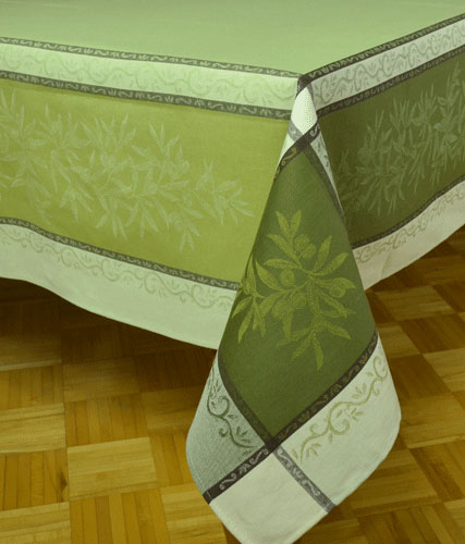 "French Jacquard Tablecloth Collection ""Olive"" Green"