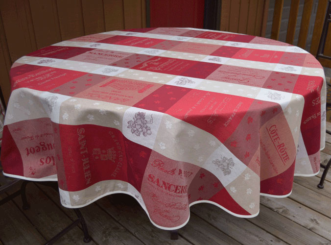 "French Jacquard Round Tablecloth Collection ""Sommelier"" Cream/Red"