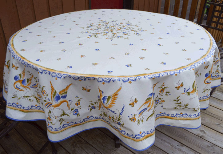 "French Acrylic Coated Tablecloth Collection ""Moustiers"": Birds Motif, Placed Pattern, Round D.71"", Seats 4 - 6 people, Price $114.95"
