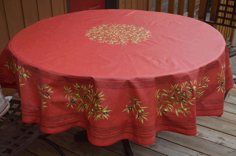 "French Coated Round Tablecloth Collection ""Clos"" Red"