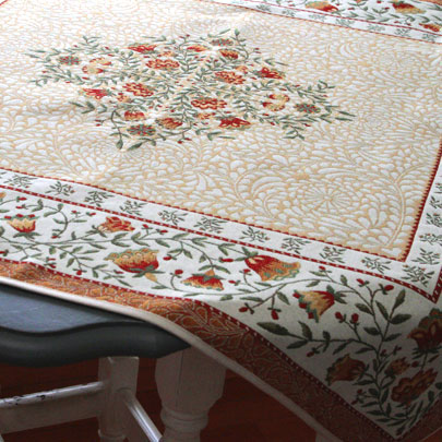 "French Tapestry Table Topper Collection ""Aubrac"" Rust"