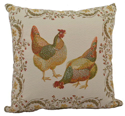 "French Tapestry Cushion Cover Collection ""Chanteclaire"" (front shown)"
