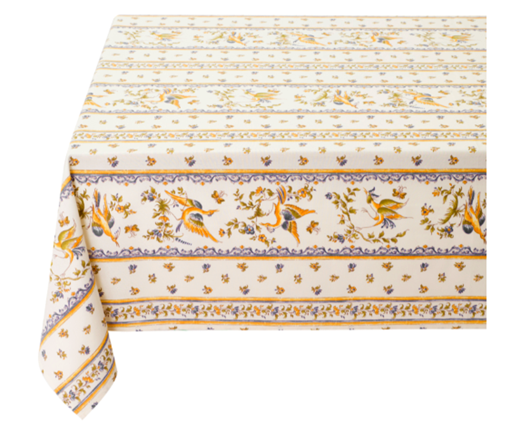 "French Acrylic Coated Tablecloth Collection ""Moustiers"": Birds Motif, Stripes, Size 76"" x 60"", Seats 6 people, Price $94.95"