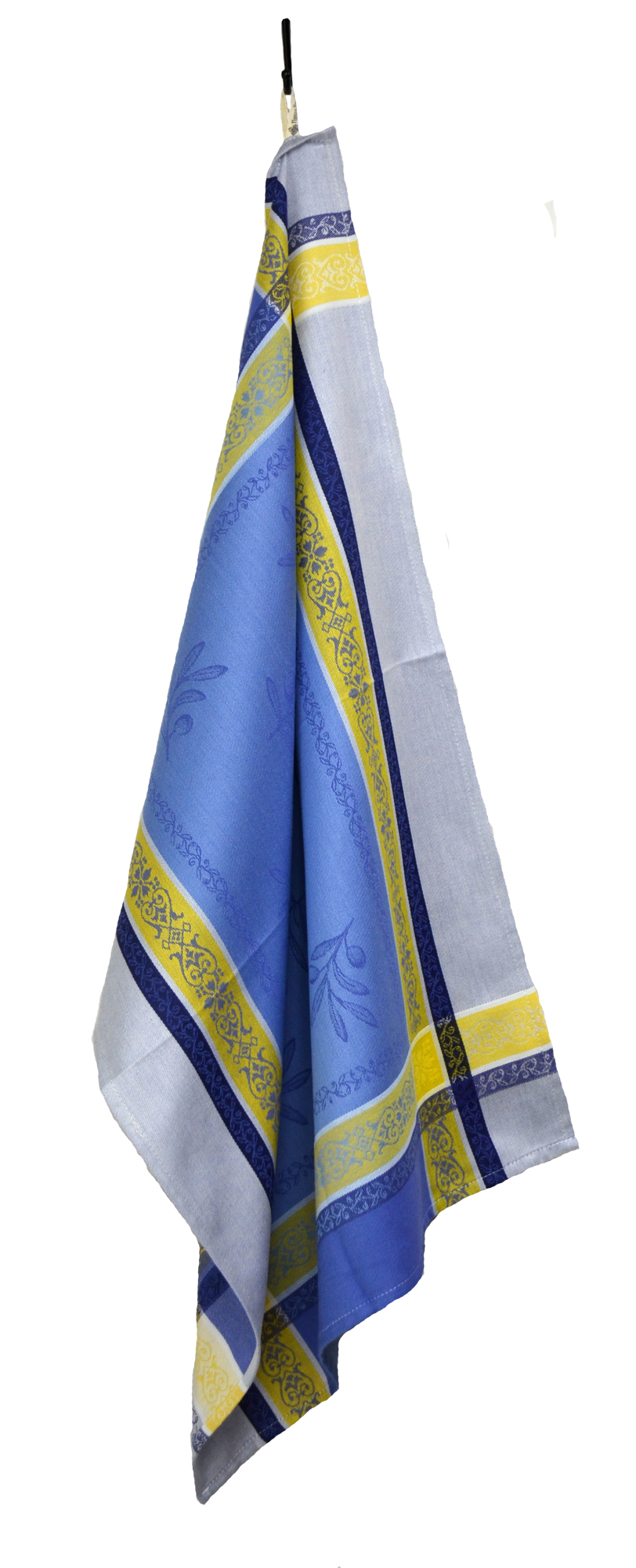 """Olives French Jacquard Tea Towel - Collection """"Olivia"""" Blue/Yellow, Size: 21 x 29 inches, Price CAN$19.95"""