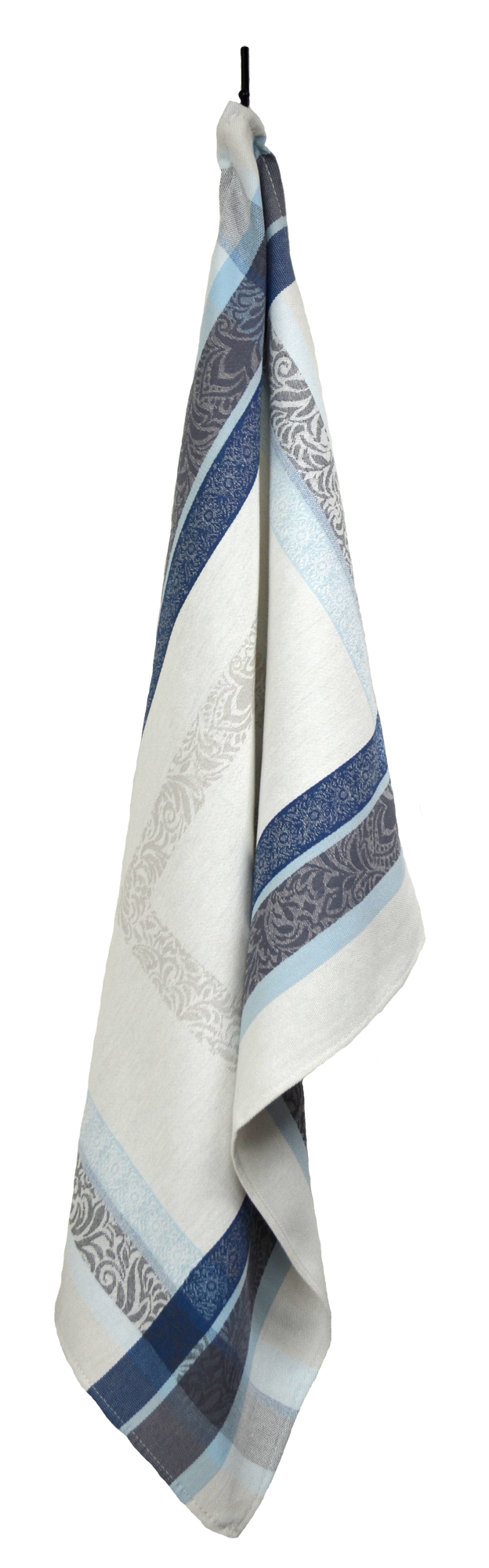 """Floral French Jacquard Tea Towel - Collection """"Bargeme"""" Cream/Blue, Size: 21 x 27 inches, Price CAN$19.95"""