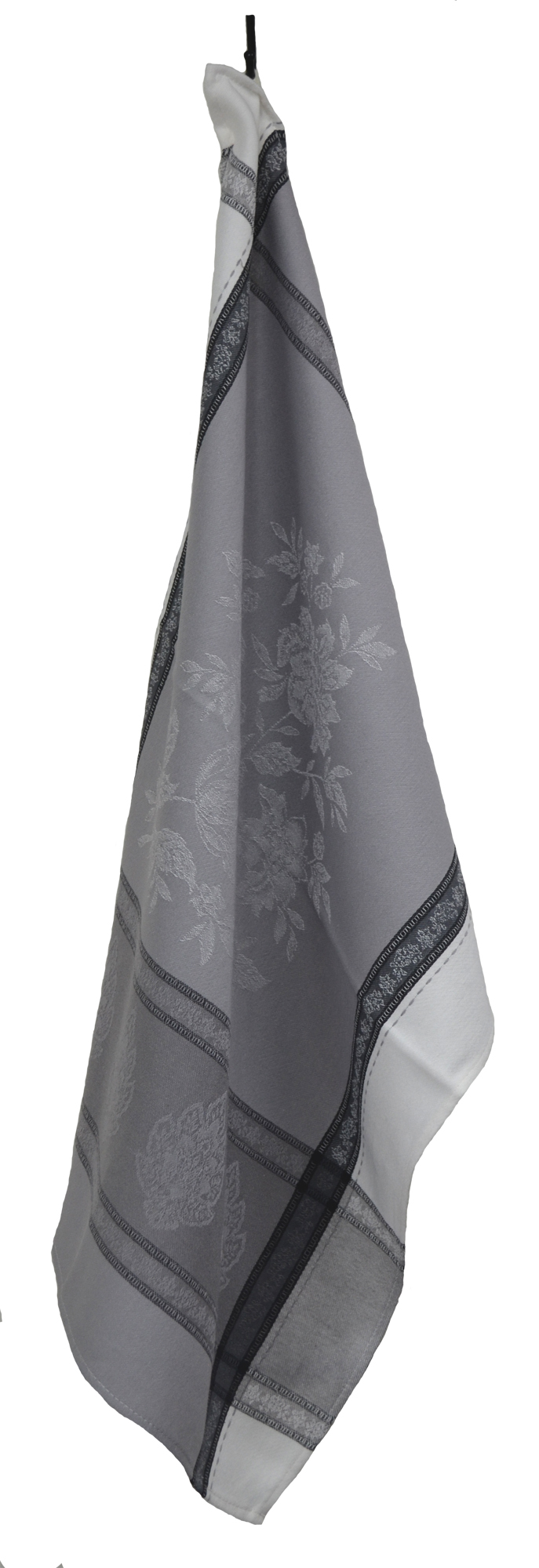 """Floral French Jacquard Tea Towel - Collection """"Capris"""" Grey, Size: 20 x 27 inches, Price CAN$19.95"""