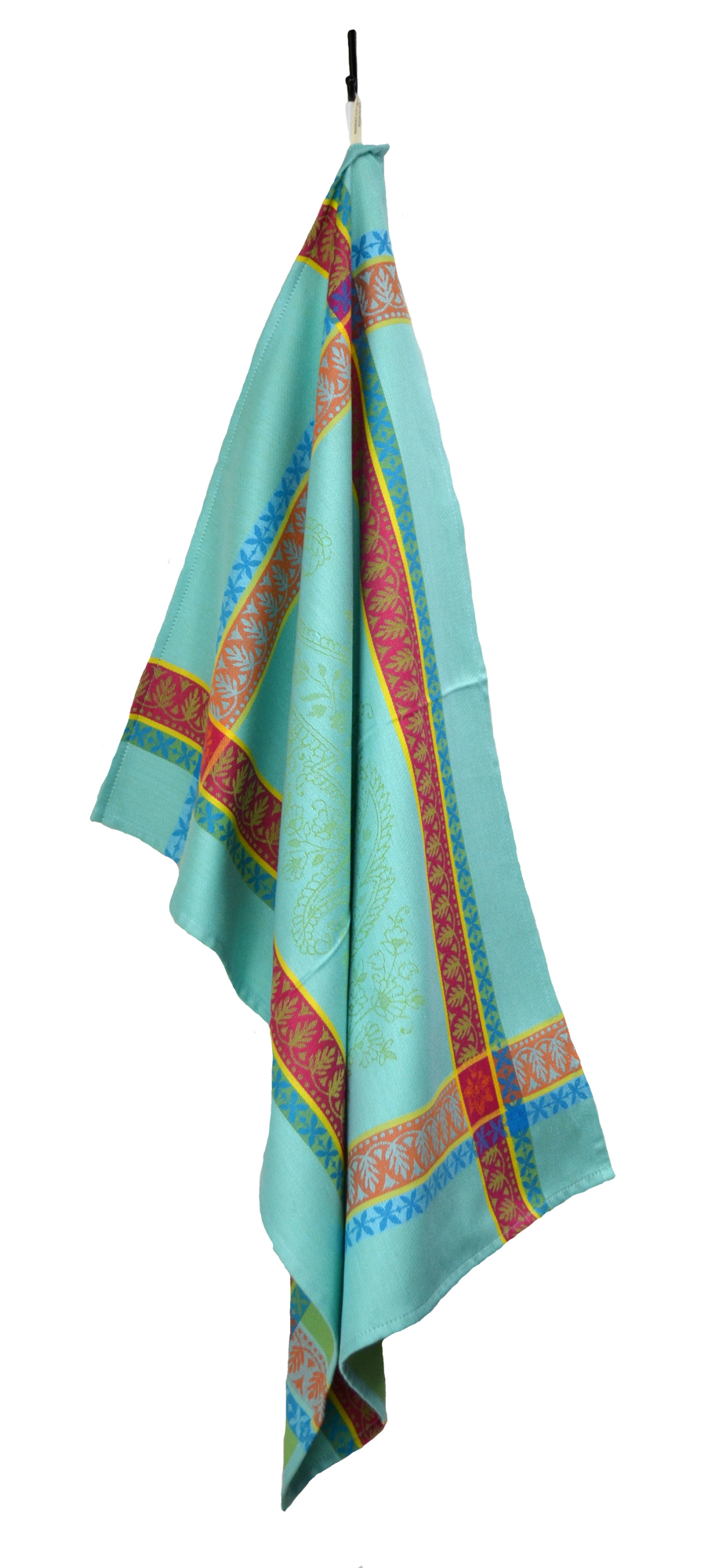 """Floral French Jacquard Tea Towel - Collection """"Cassis"""" Turquoise, Size: 21 x 28 inches, Price CAN$19.95"""