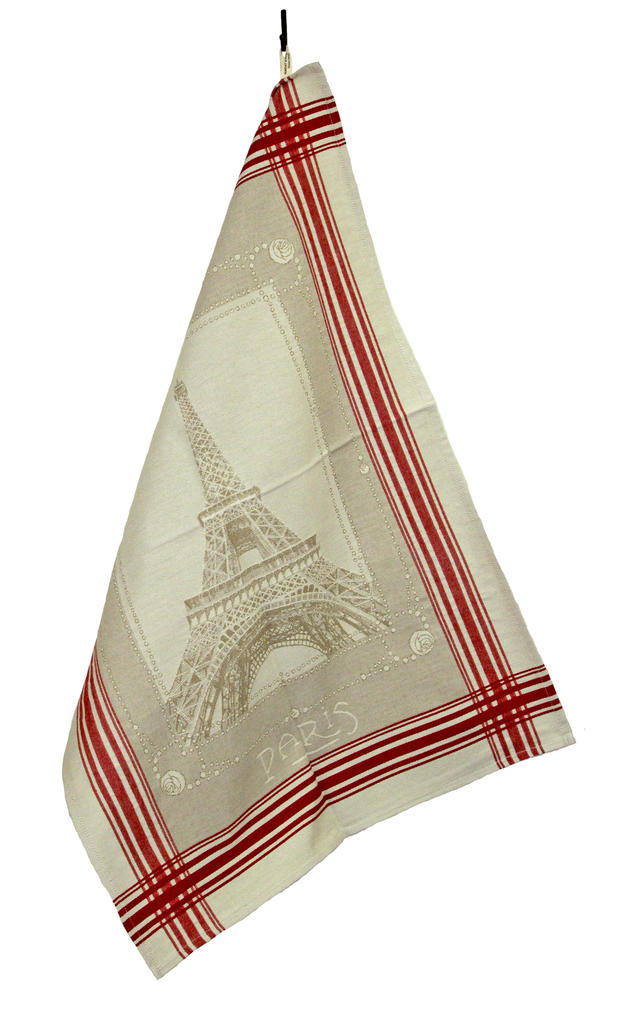 """Parisien French Jacquard Tea Towel - Collection """"Eiffel Tower"""" Beige/Red, Size: 20 x 28 inches, Price CAN$19.95"""