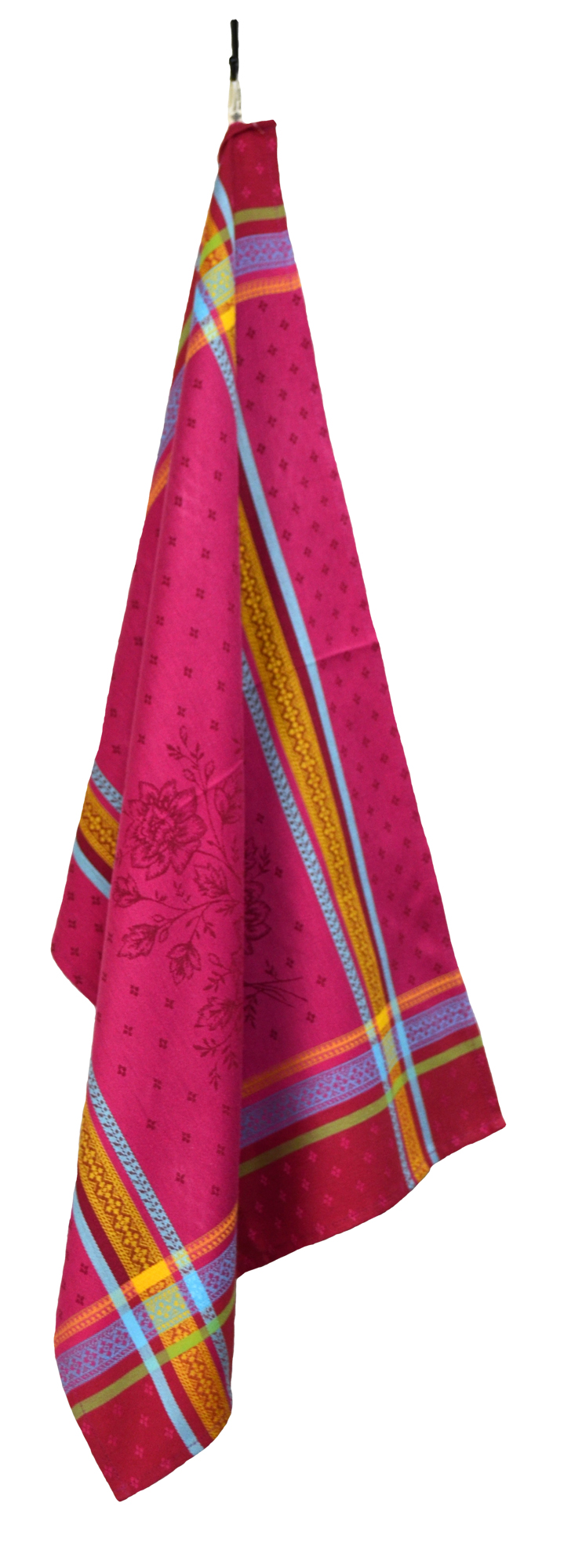 """Floral French Jacquard Tea Towel - Collection """"Massilia"""" Fuchsia, Size: 21 x 29 inches, Price CAN$19.95"""