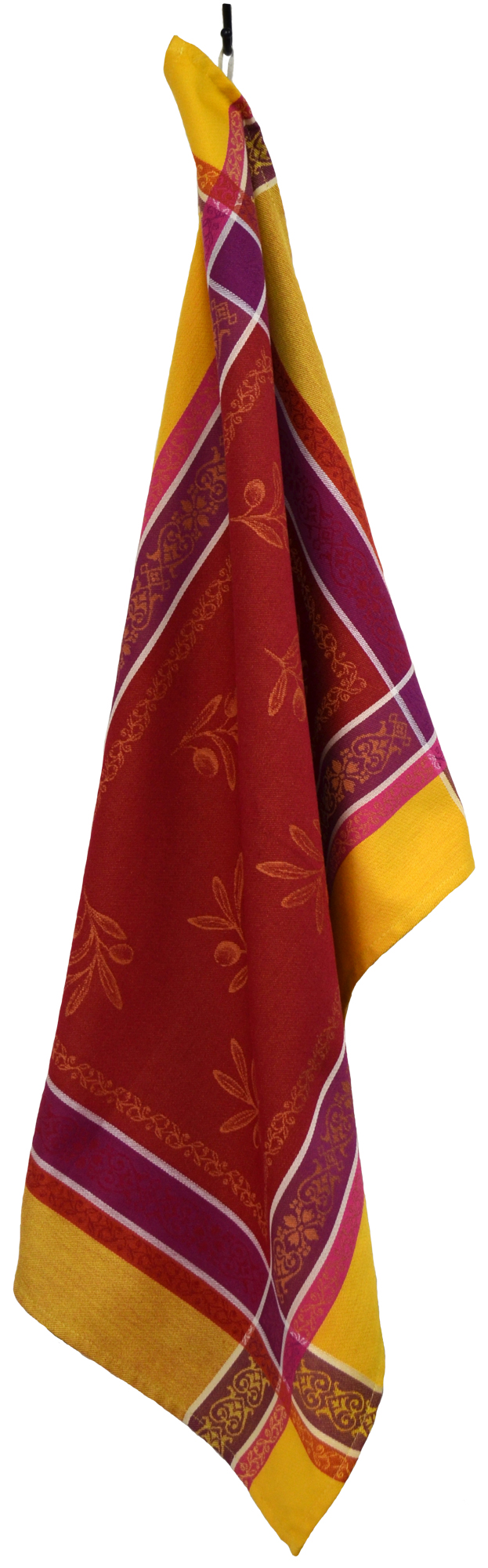"""Olives French Jacquard Tea Towel - Collection """"Olivia"""" Red/Yellow, Size: 21 x 29 inches, Price CAN$19.95"""