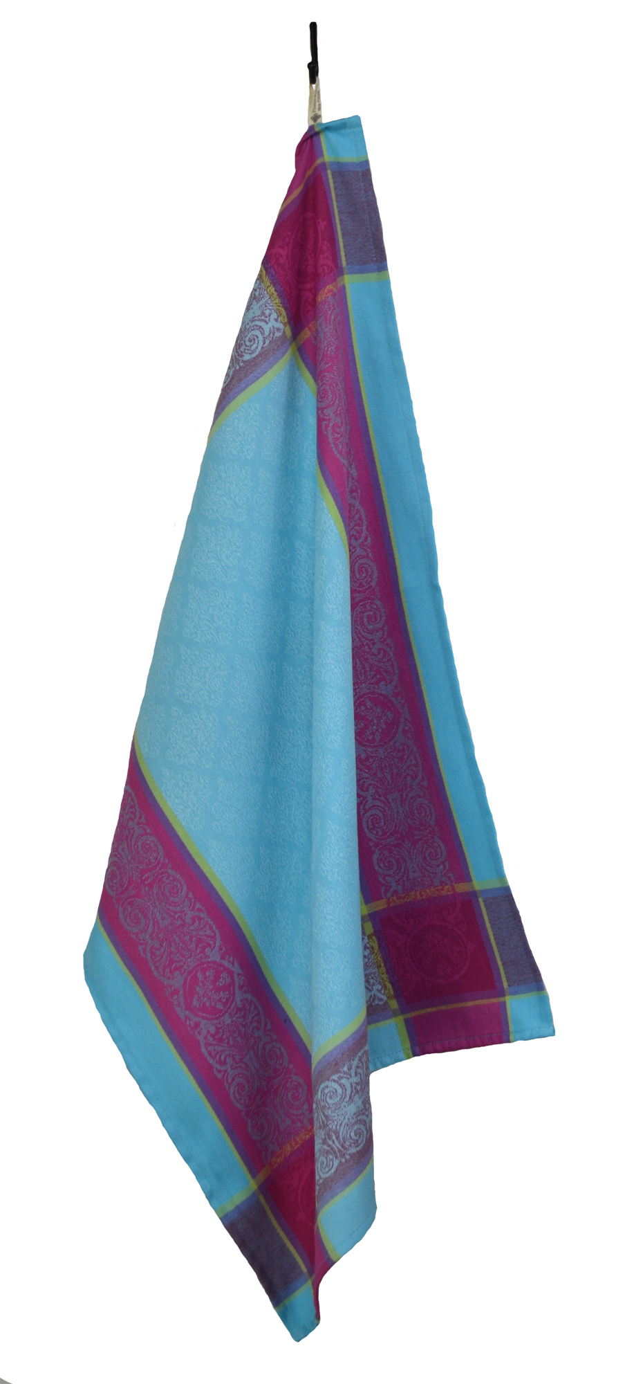 """Floral French Jacquard Tea Towel - Collection """"Prestige"""" Turquoise/Fuchsia, Size: 21 x 27 inches, Price CAN$19.95"""