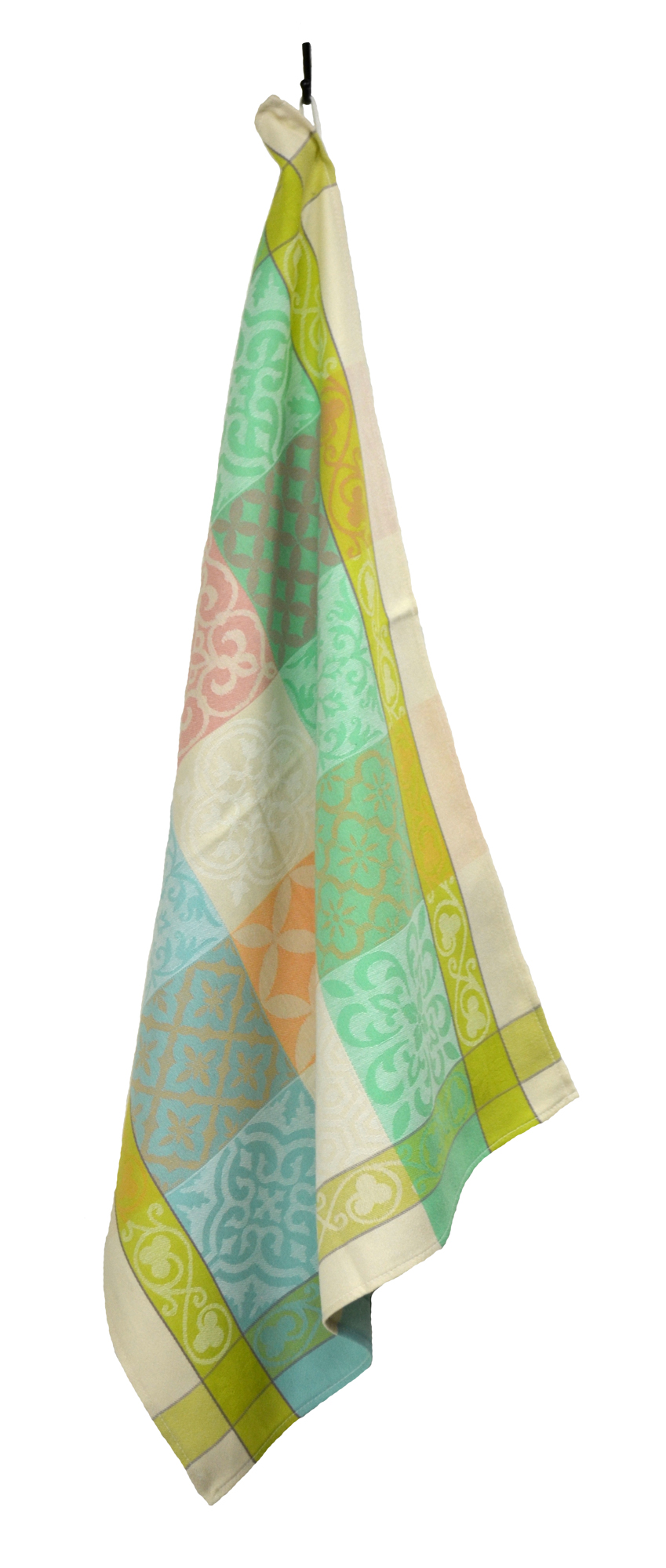 """French Jacquard Tea Towel - Collection """"Reillanne"""" Lime/Cream, Size: 21 x 28 inches, Price CAN$19.95"""