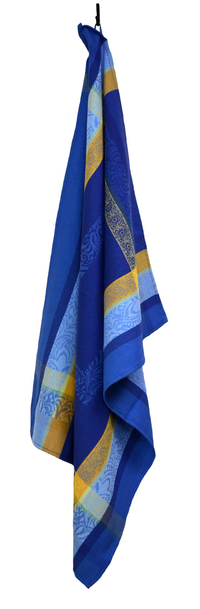 """Floral French Jacquard Tea Towel - Collection """"Bargeme"""" Blue/Yellow, Size: 21 x 27 inches, Price CAN$19.95"""
