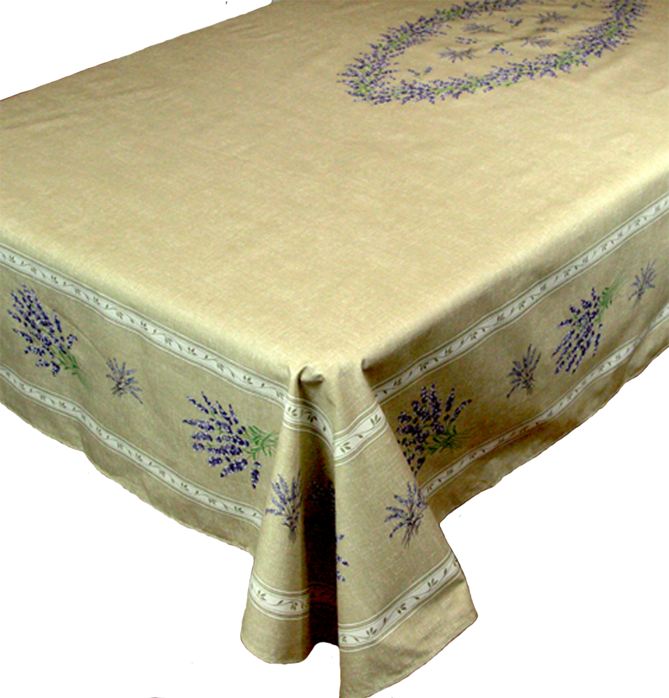 """French Coated Round Tablecloth Collection """"Valencole"""" Linen"""