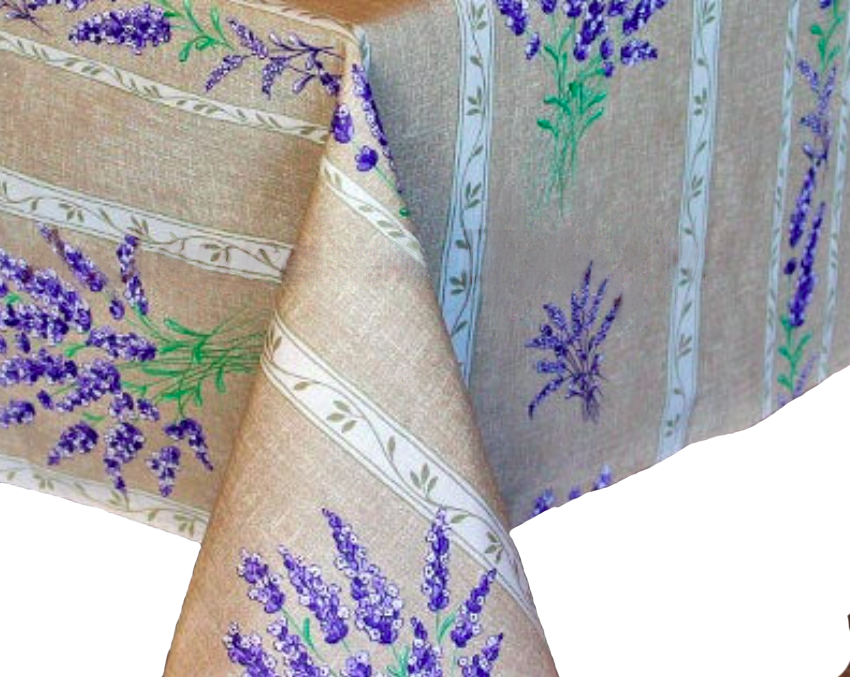 """French Acrylic Coated Tablecloth Collection """"Valencole"""" Linen: Lavender Motif, Stripes, Size 60"""" x 46"""", Seats 4 people, Price $64.95"""